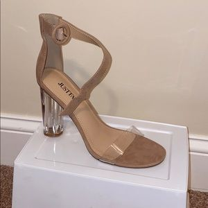 "JustFab Dress Sandals ""Camden"" Nude Clear 6.5"